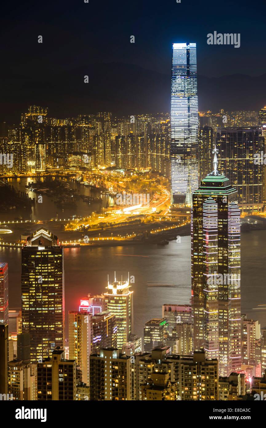 View over Hong Kong skyline from Victoria Peak at night, Central District, Hong Kong, China - Stock Image