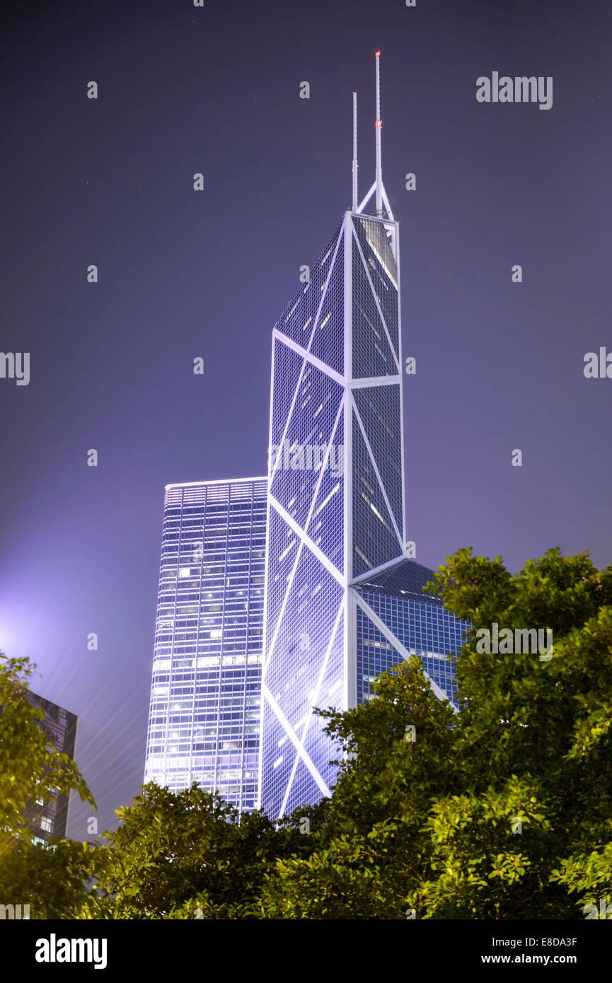 Tower of the Bank of China at night, Central District, Hong Kong, China - Stock Image