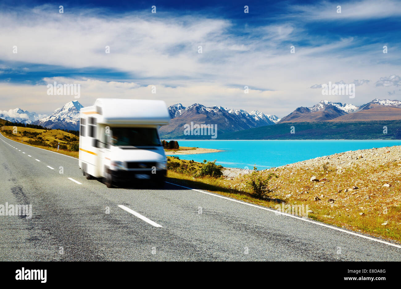 Traveling by motorhome, Mount Cook, New Zealand. Car in motion blur - Stock Image