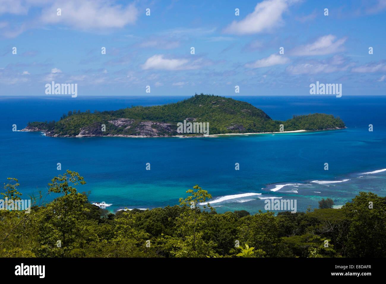 View towards Therese Island, Mahe, Seychelles - Stock Image