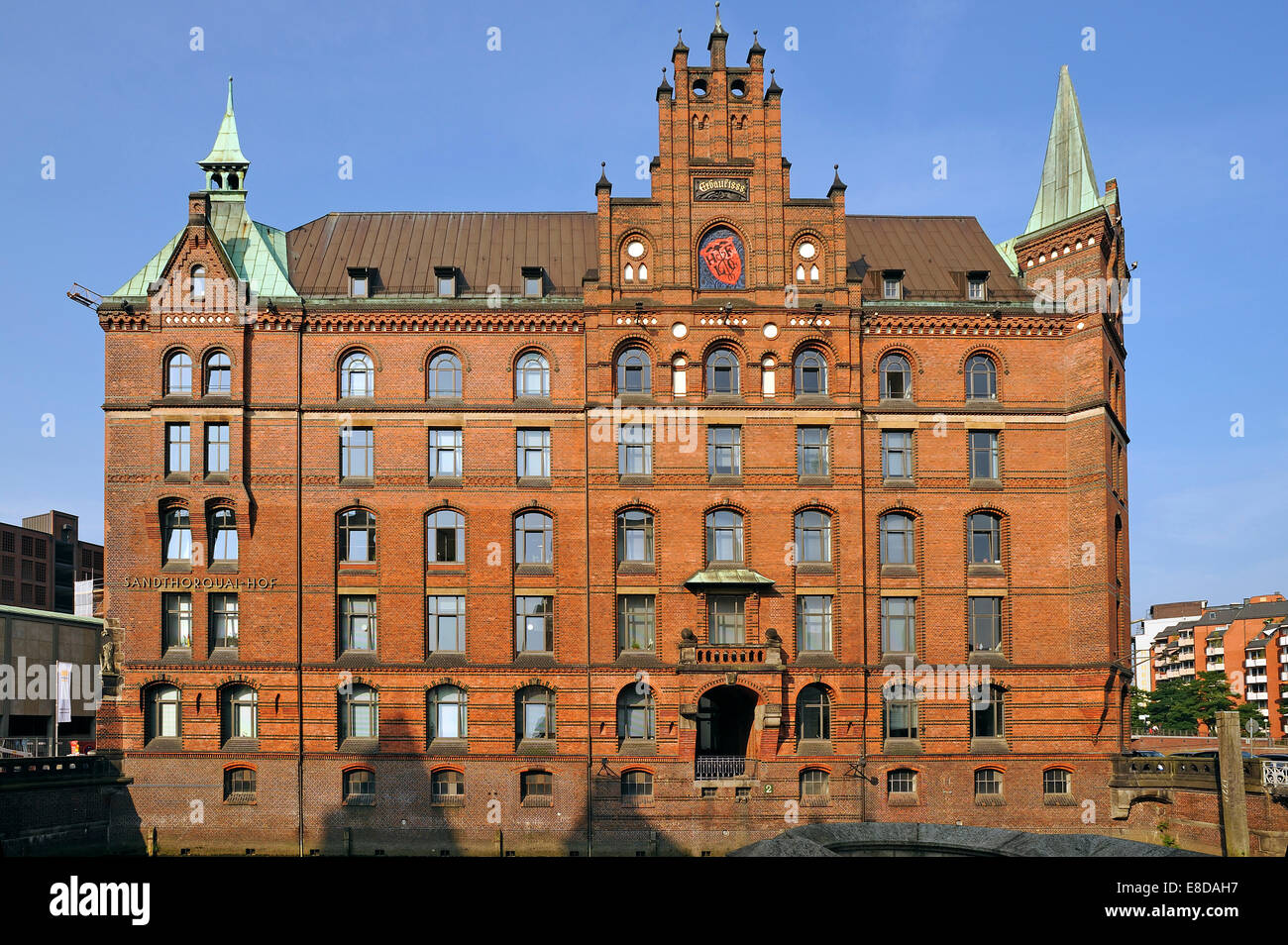 Sandthorquaihof in the morning light, a former office building of the HLFG, in front Kleines Fleet canal, Speicherstadt Stock Photo