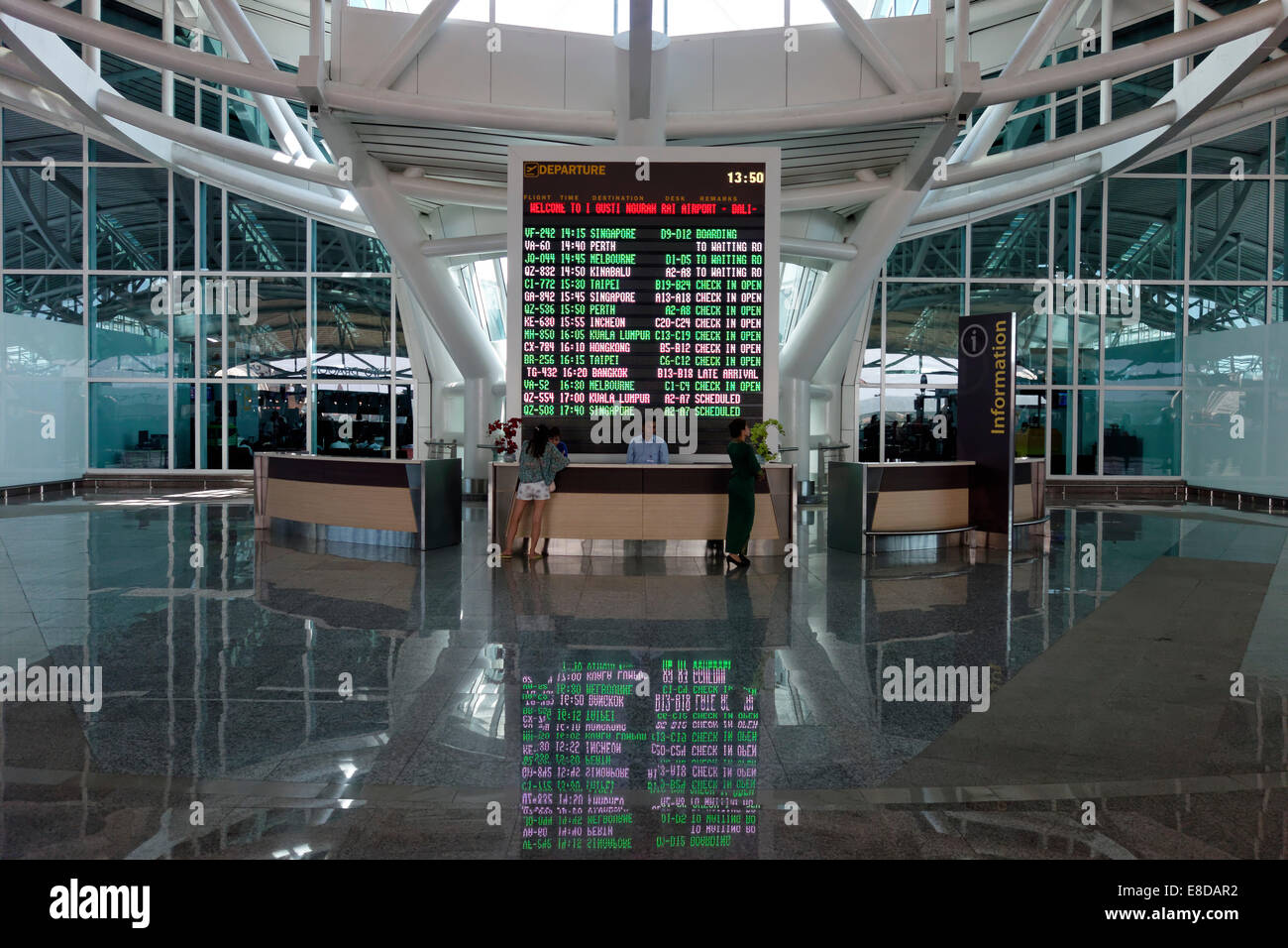 Information desk with LED display board, departures, Ngurah Rai Airport or Denpasar International Airport, Tuban, - Stock Image