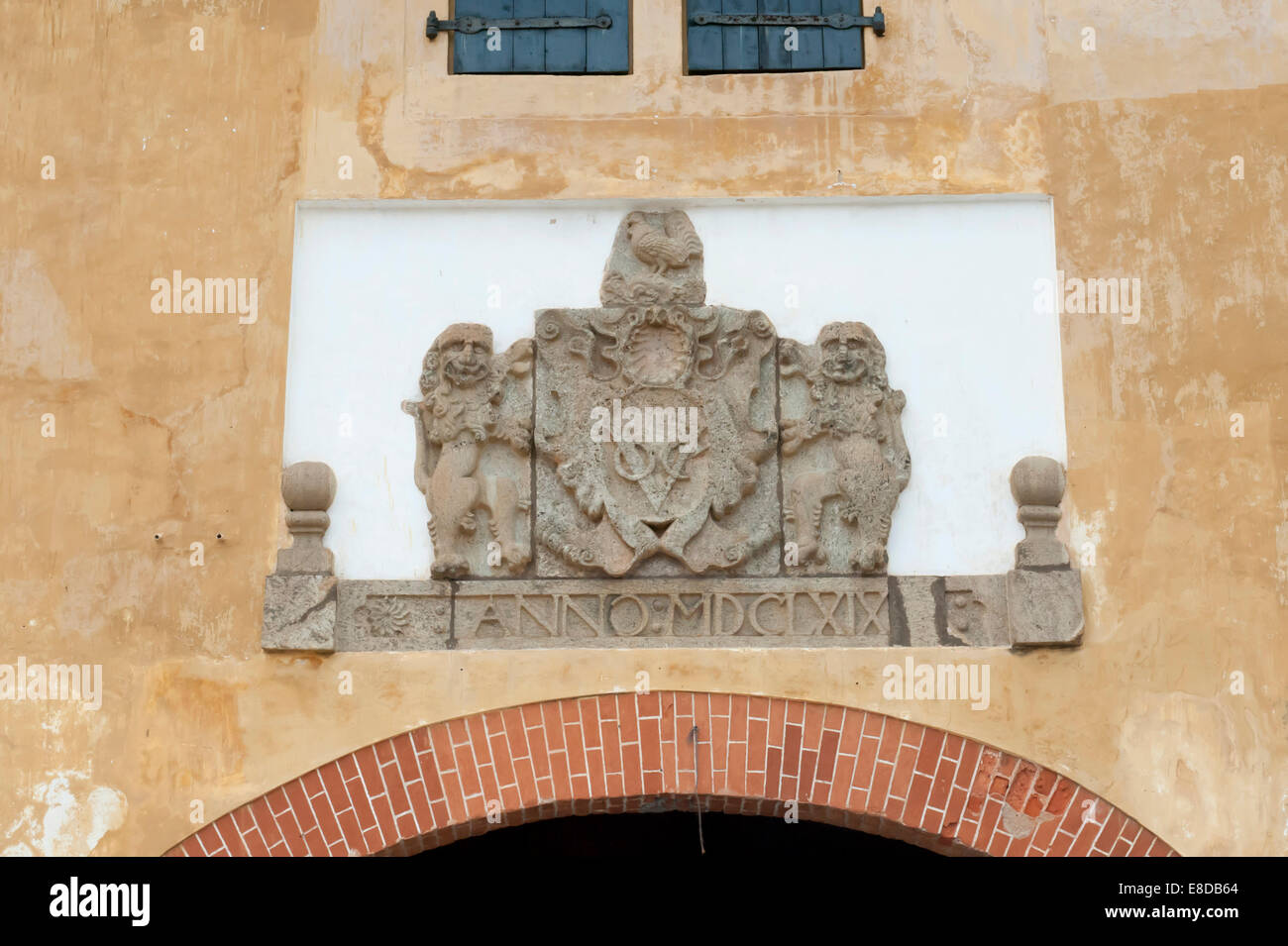 Coat of arms of the Governor of the Dutch East India Company, VOC, on the city walls of Galle, Southern Province, - Stock Image