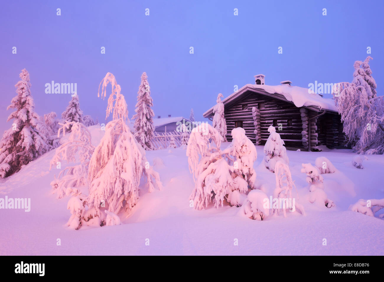 Finnish log cabin in the snow-covered landscape, Iso Syöte, Lapland, Finland - Stock Image