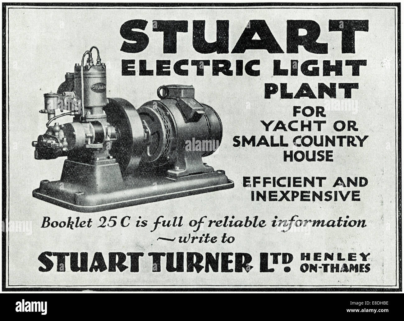 1920s advertisement for electric light generators by STUART TURNER LTD of Henley-on-Thames in English magazine dated Stock Photo