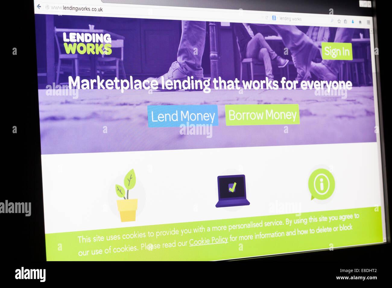 Screenshot of the lendingworks homepage - Stock Image