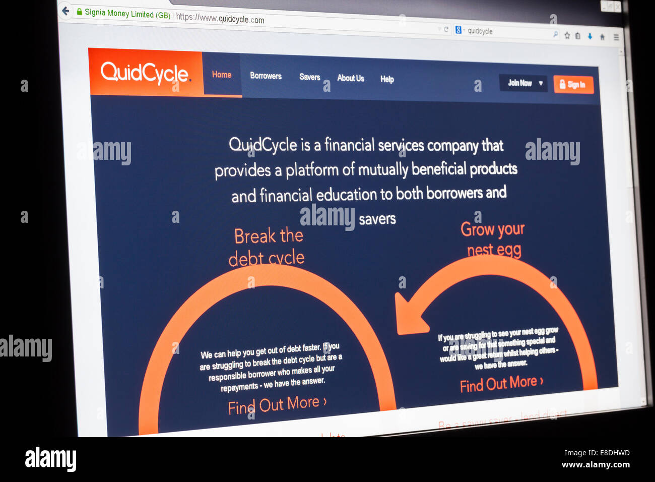 Screenshot of the quidcycle homepage - Stock Image