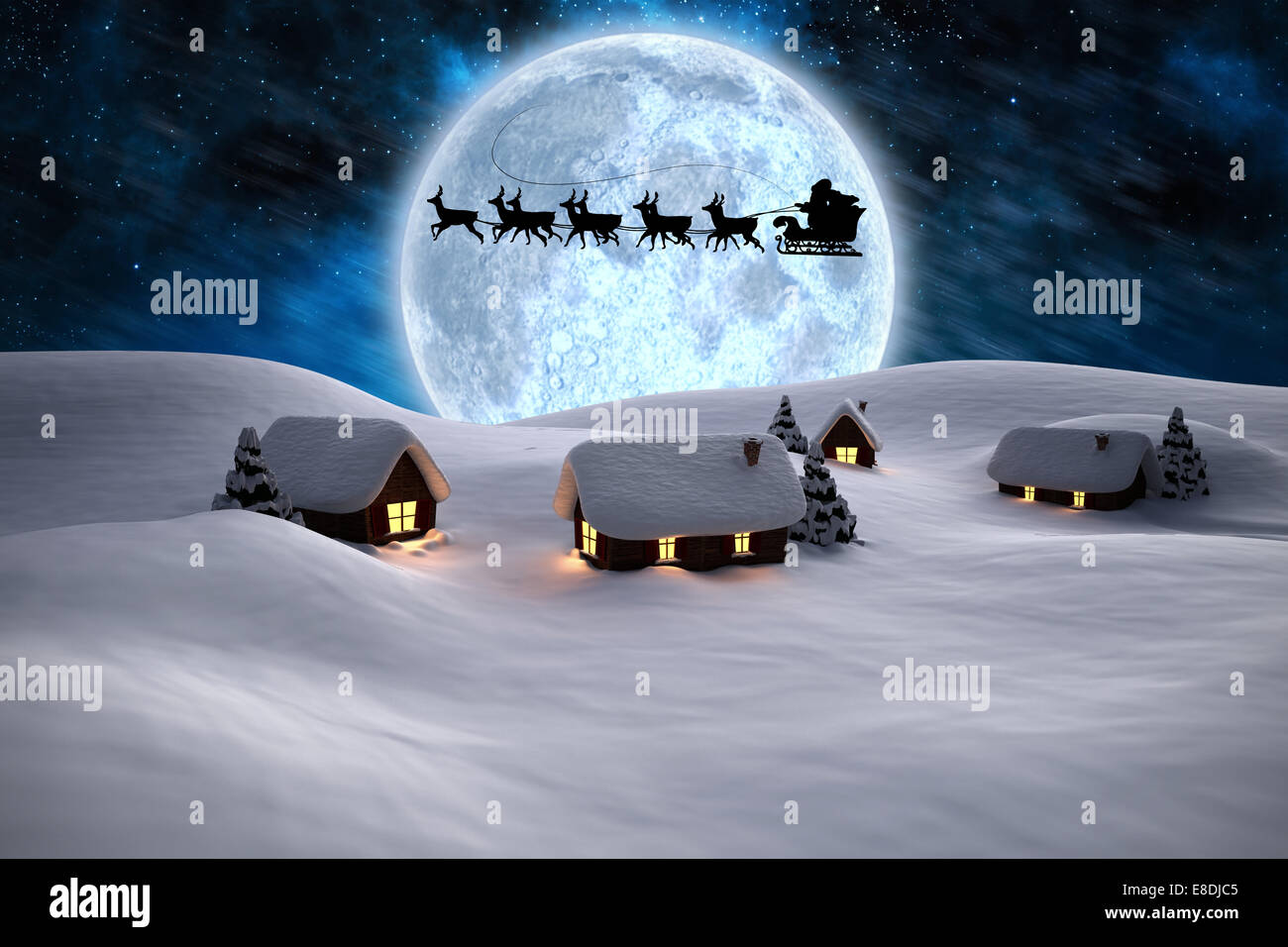 Composite image of house with snow on roof - Stock Image