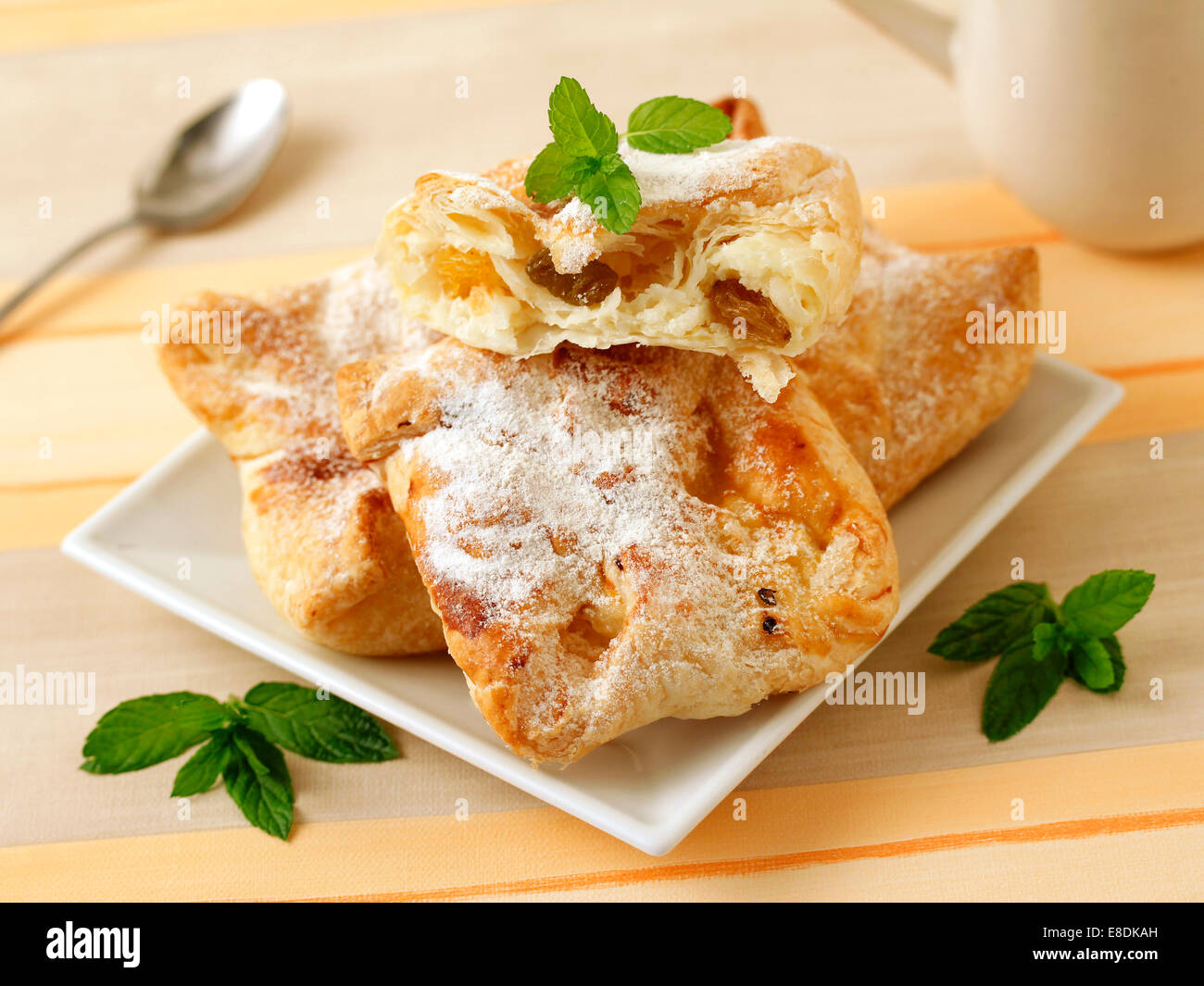 Wrapped cheese and raisins. Recipe available.. - Stock Image