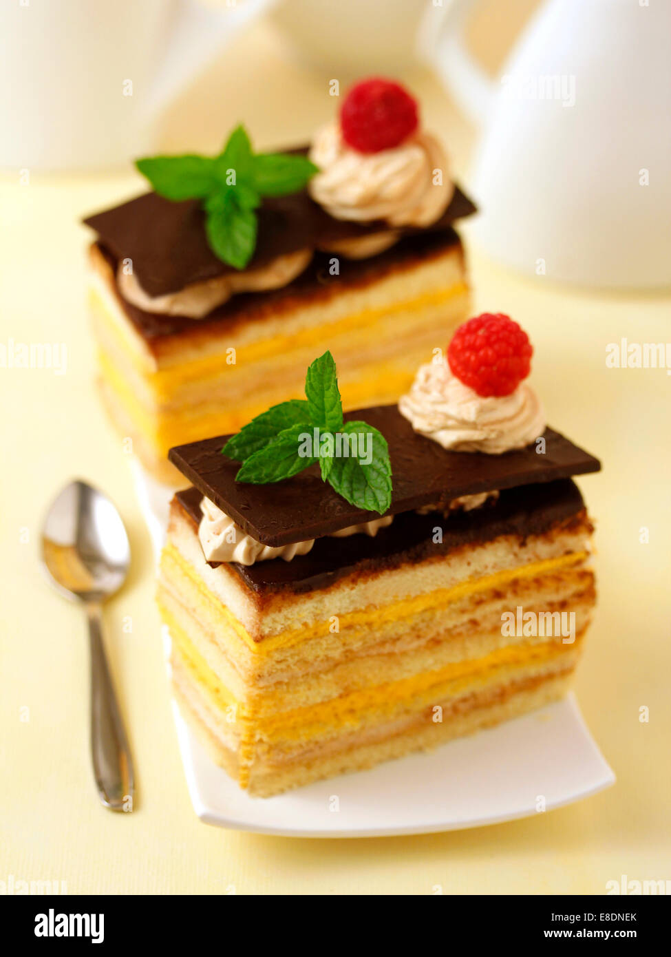 Sponge cake with custard and tiramisu. Recipe available. - Stock Image