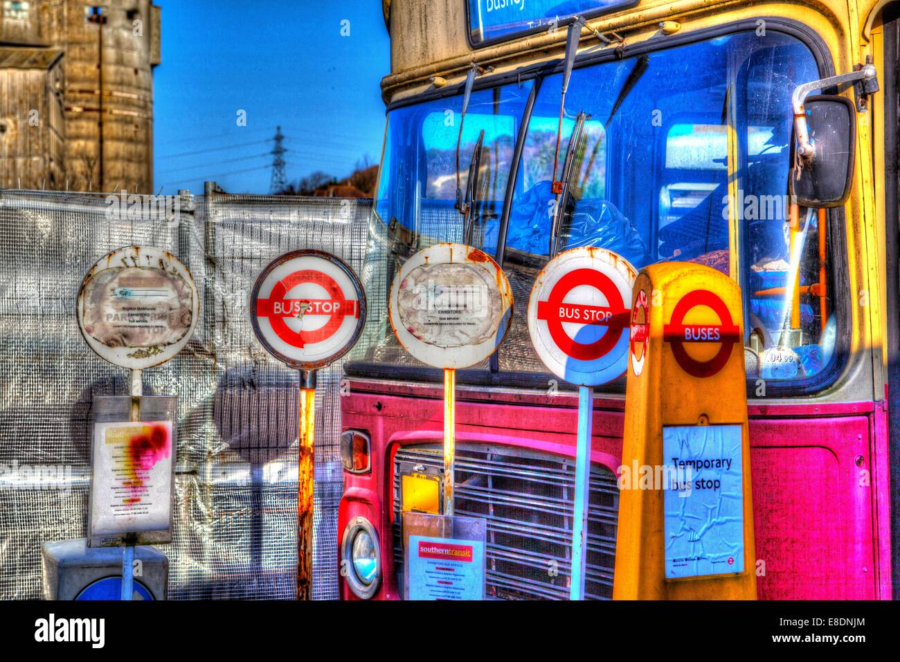 Old temporary Bus stop signs - Stock Image