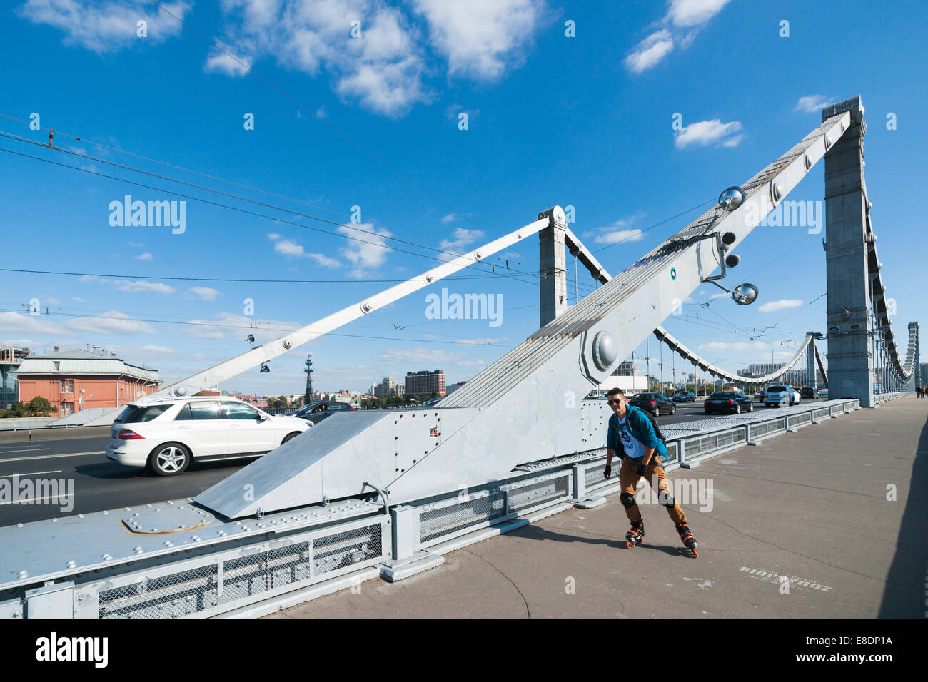 Active pastime of the youth. Sunny midweek in Moscow, Russia - Stock Image