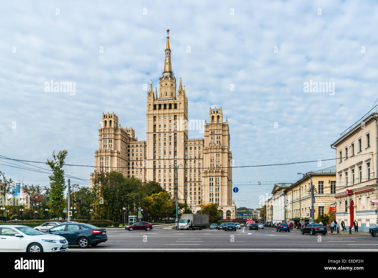 Not very high exchange rate can be observed in Kudrinskaya square by the famous tall residential building. Stock Photo