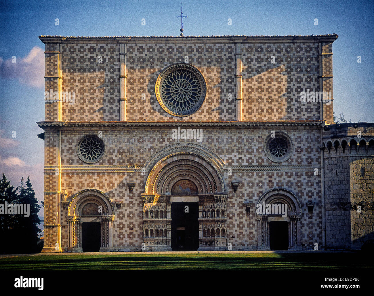 Santa Maria di Collemaggio church in l'Aquila, Abruzzo, Italy - Stock Image