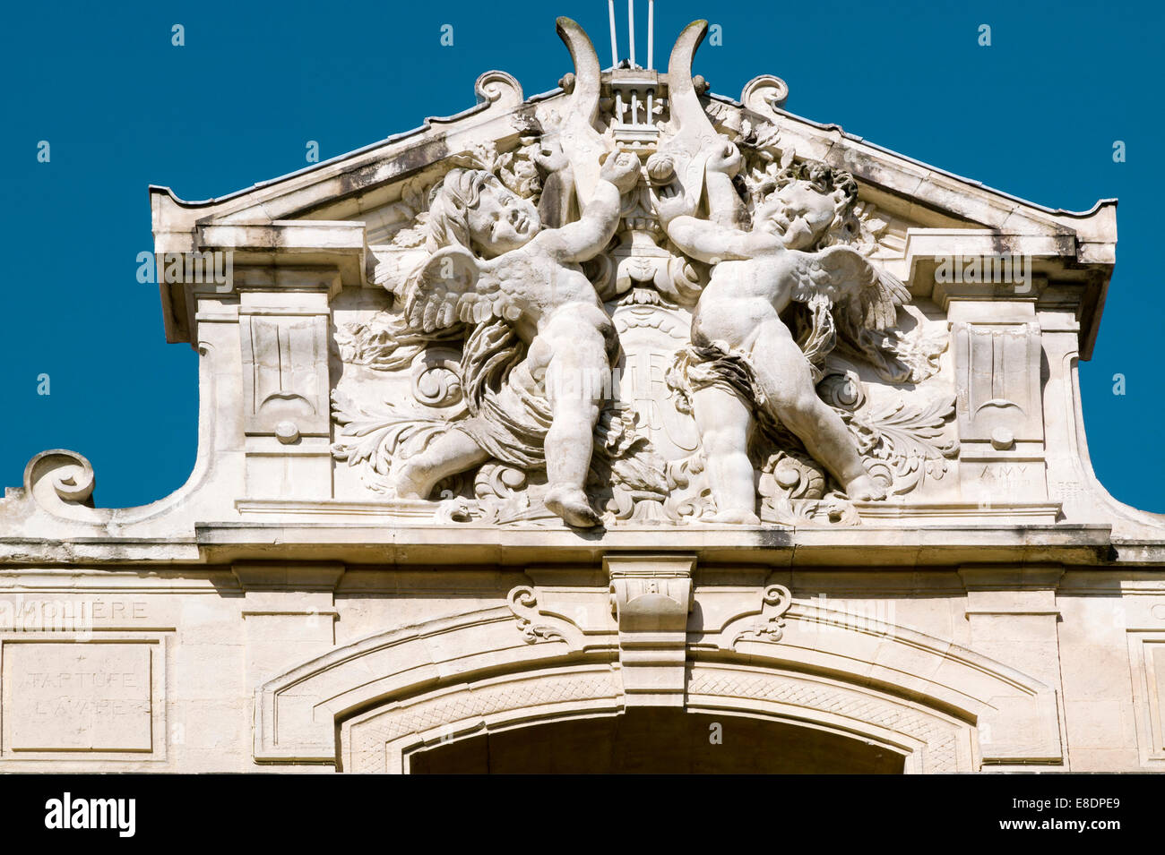 The Sculpted Pediment Of The Theatre,Tarascon,Bouches du Rhone, Provence,France - Stock Image