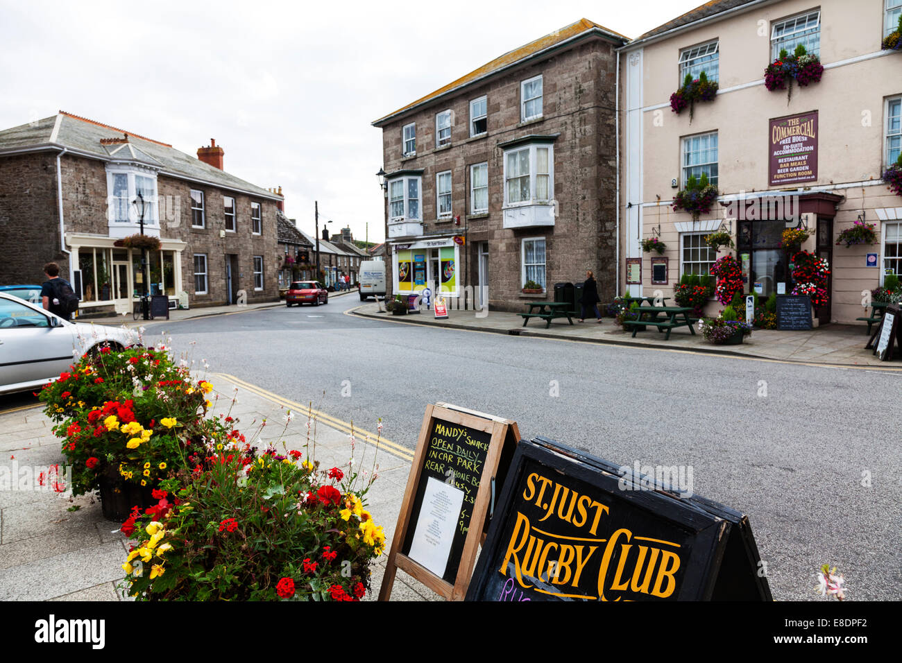 St Just Cornwall UK village centre shops pub pubs town center road Cornish typical - Stock Image