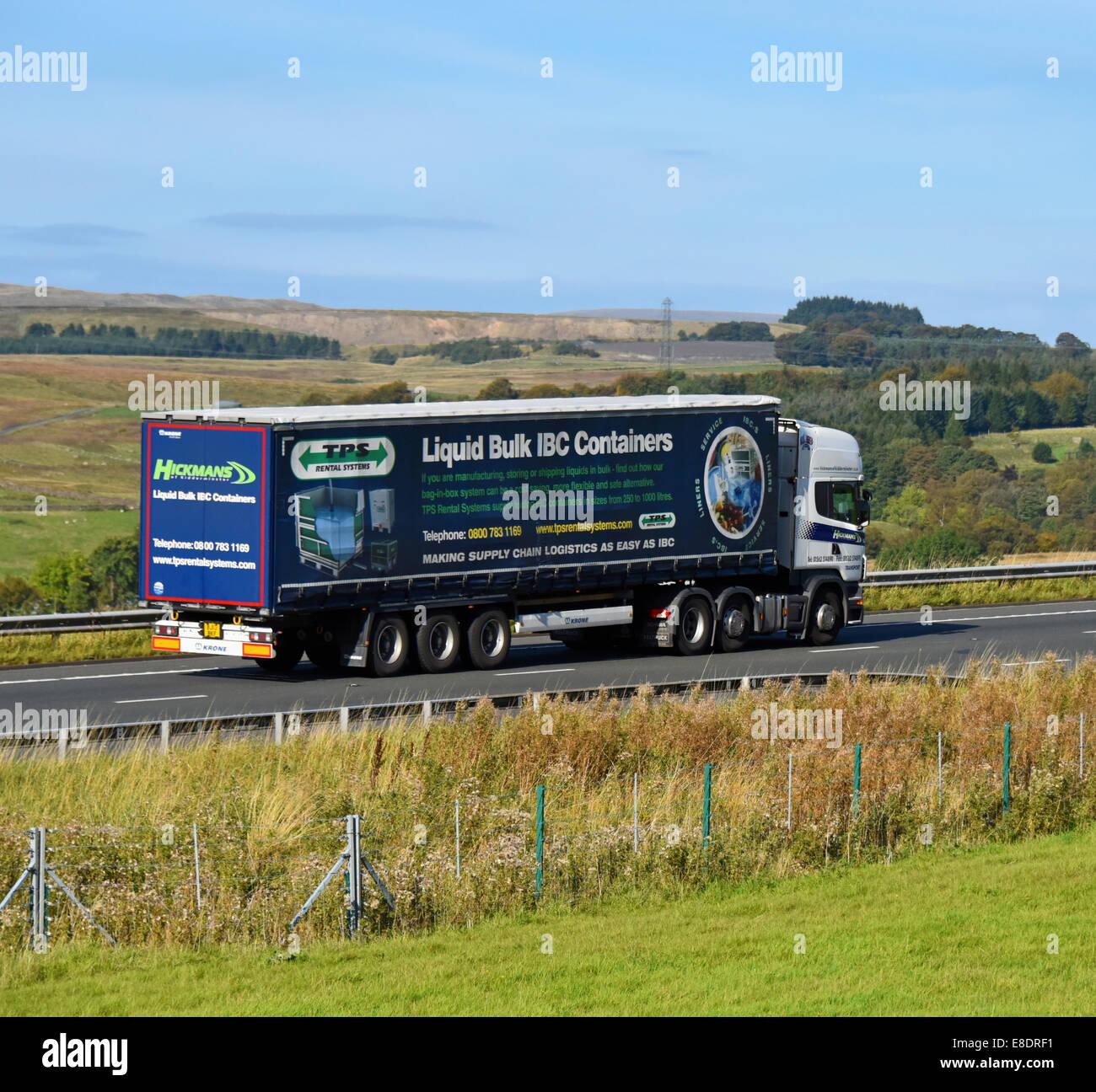 Hickmans of Kidderminster HGV. M6 Motorway, northbound. Shap, Cumbria, England, United Kingdom, Europe. - Stock Image