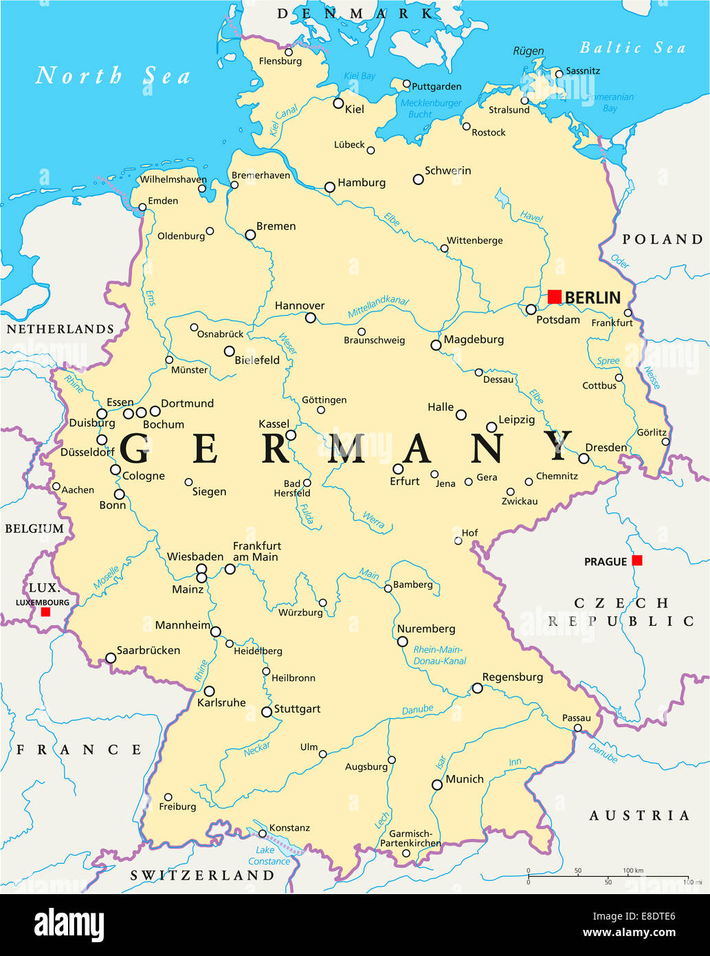 germany political map with capital berlin national borders most important cities rivers and lakes english labelingscaling