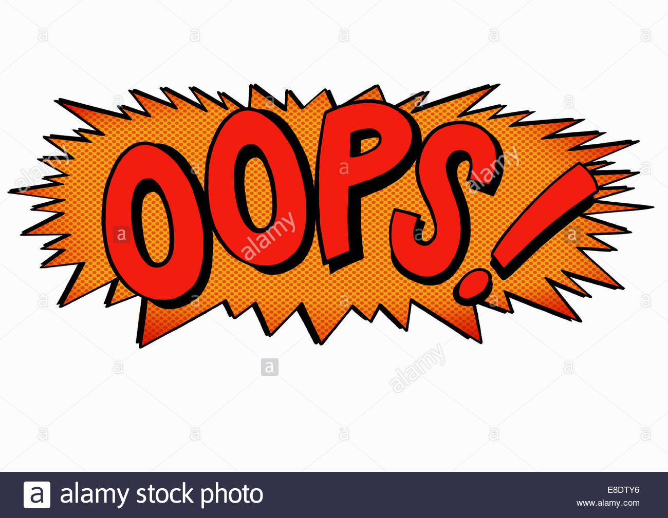 Oops! comic book text - Stock Image