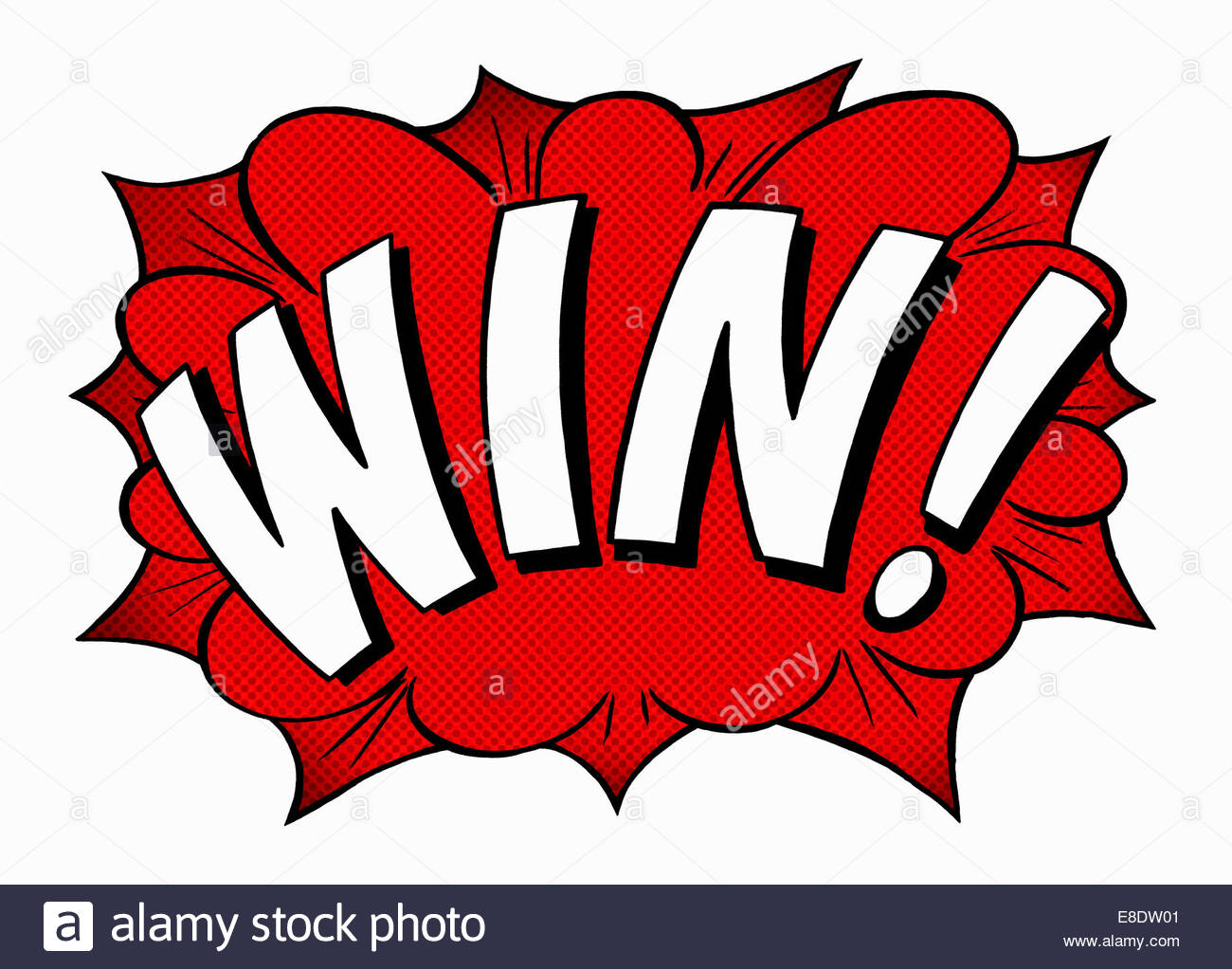 Win! comic book text - Stock Image