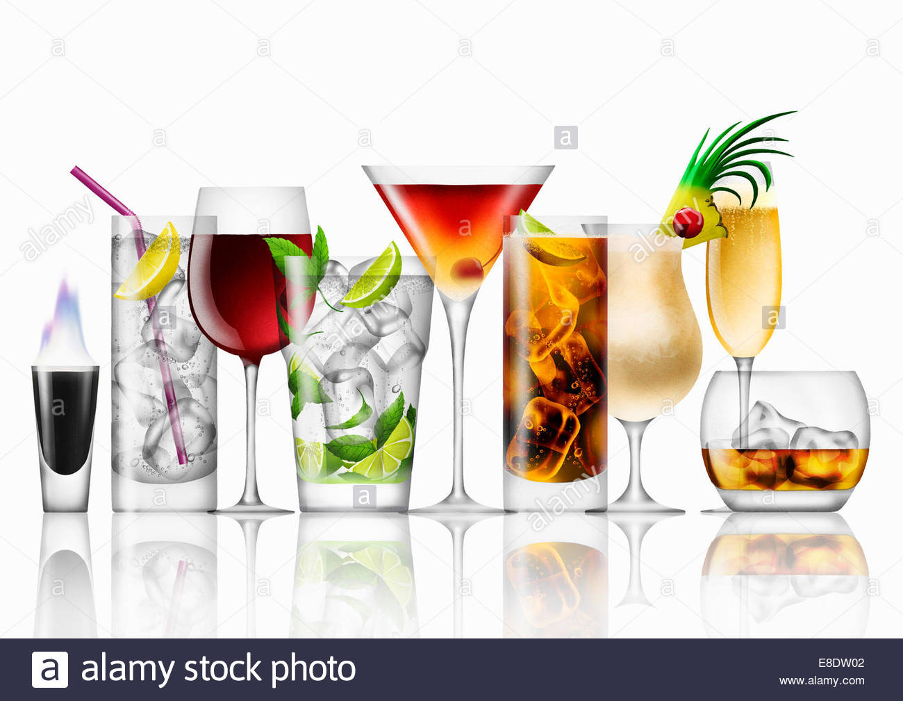 Variety of cocktails in a row - Stock Image