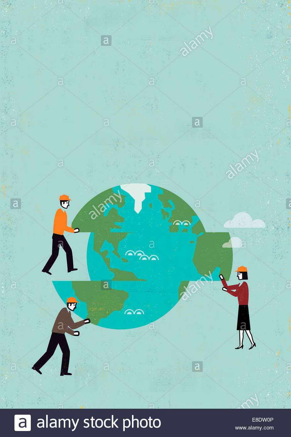 Business people moving pieces of globe - Stock Image