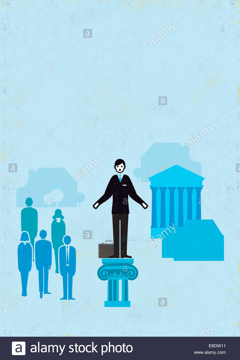 Businessman standing out from the crowd on pedestal - Stock Image