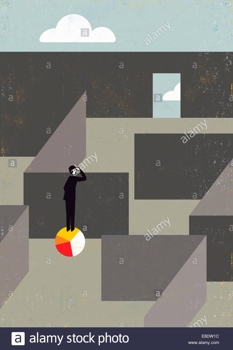 Businessman standing on pie chart peering over wall to find way out of maze - Stock Image
