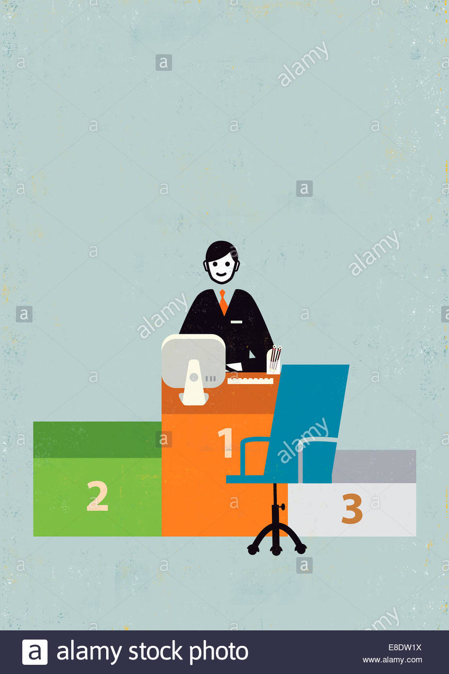 Smiling businessman at number 1 podium desk - Stock Image