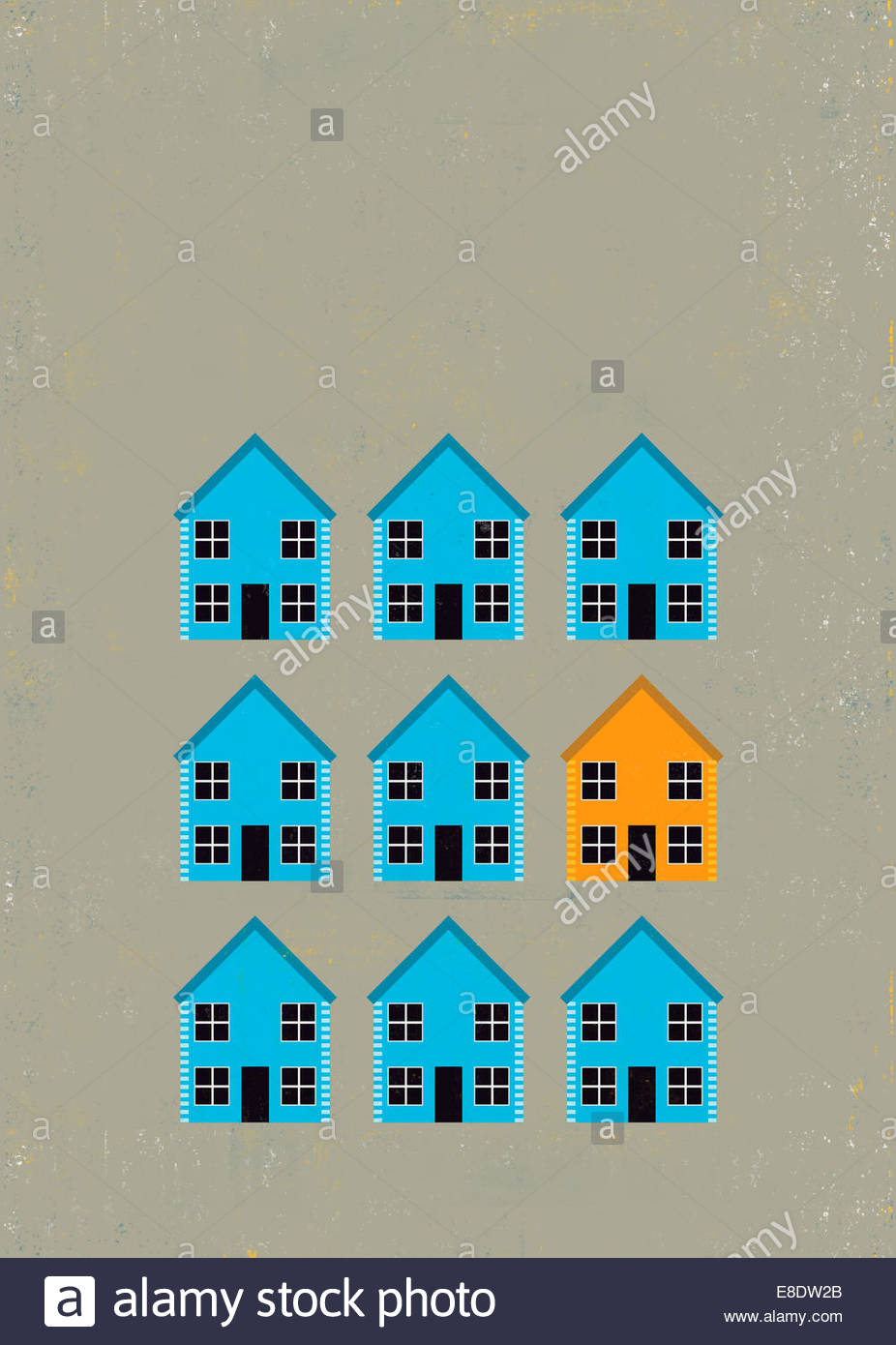 Orange house standing out from crowd of blue houses - Stock Image