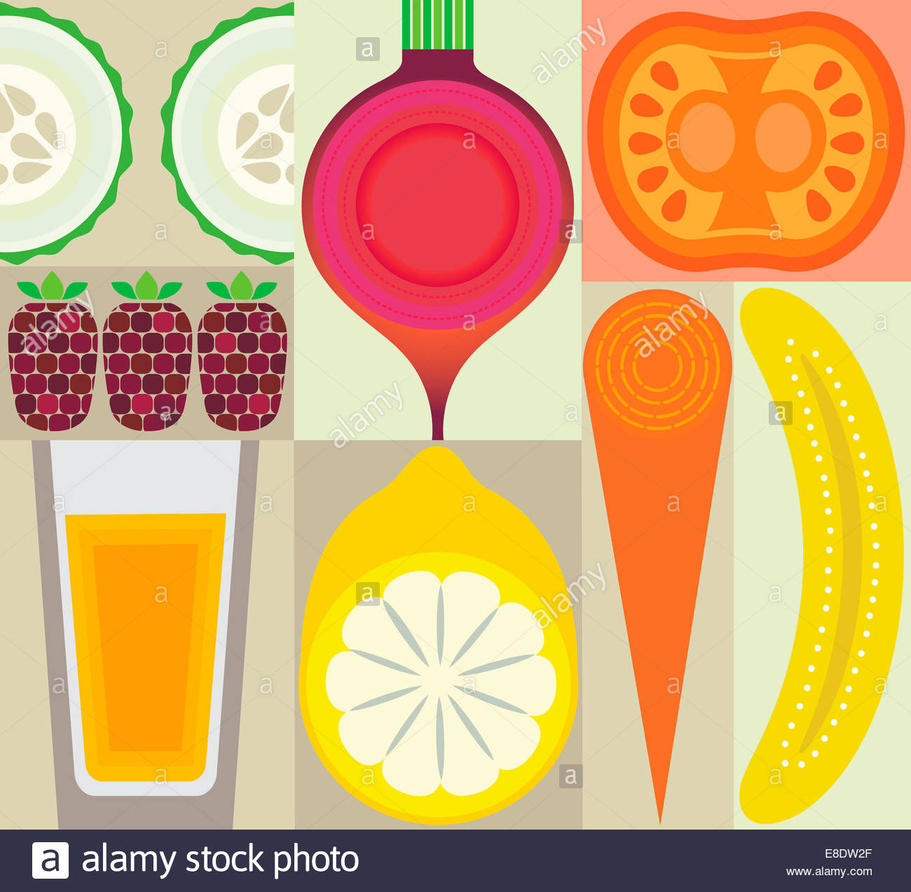 Montage of healthy fruit, juice and vegetables Stock Photo