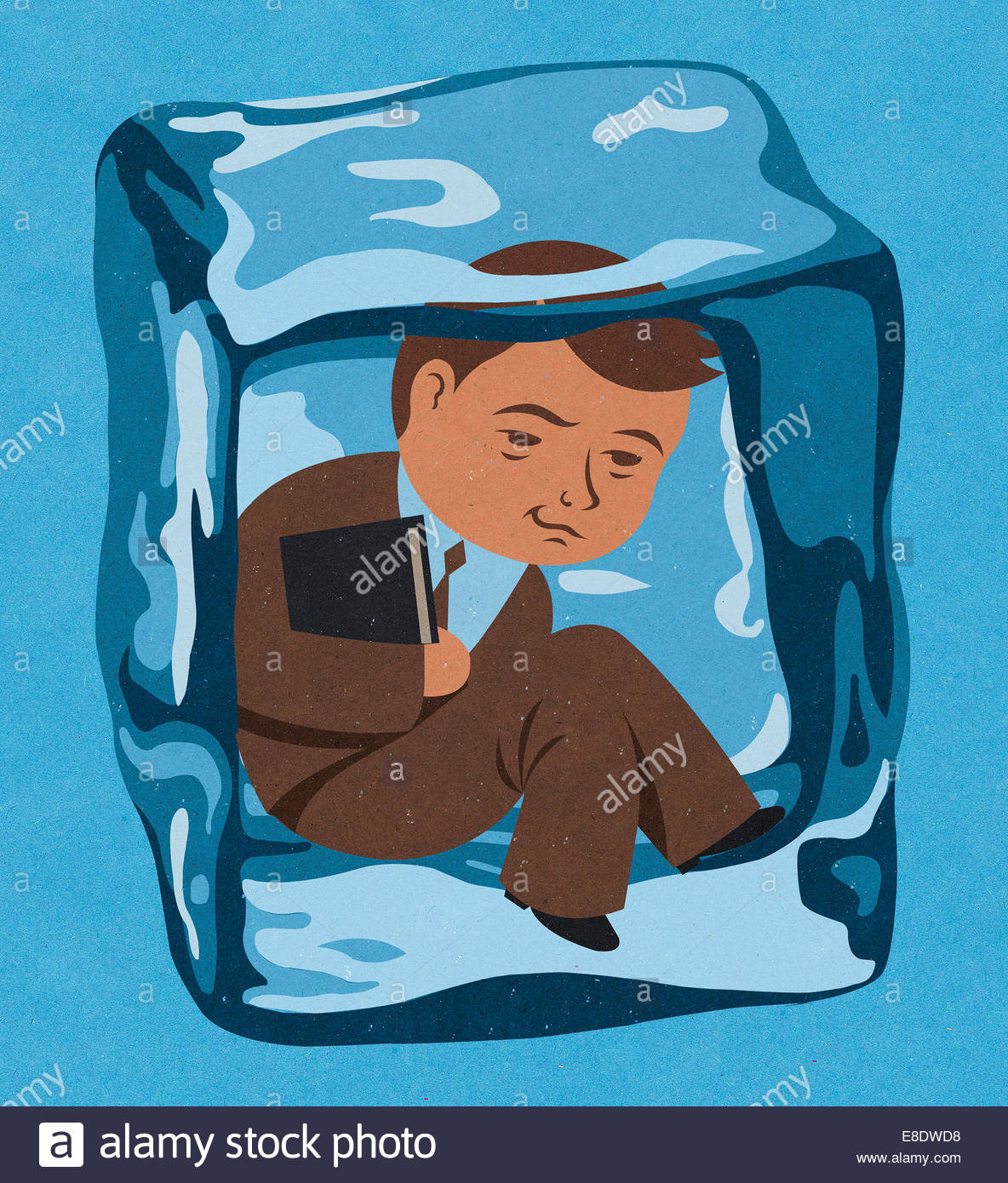 Businessman frozen inside of ice cube - Stock Image