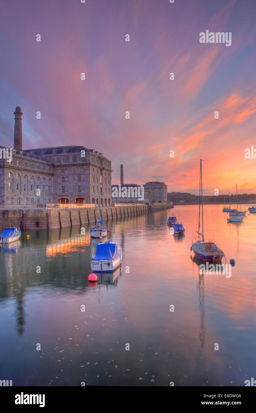 Afterglow light  above the Royal William Yard in Plymouth, Devon - a few minutes after sunset Stock Photo