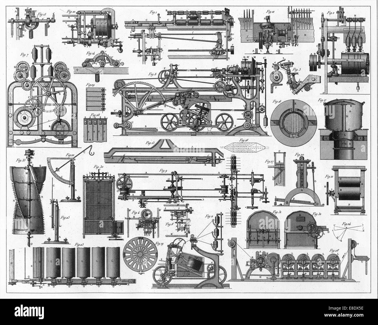 Engraved illustrations of Wool Processing Equipment from Iconographic Encyclopedia of Science, Literature and Art, - Stock Image