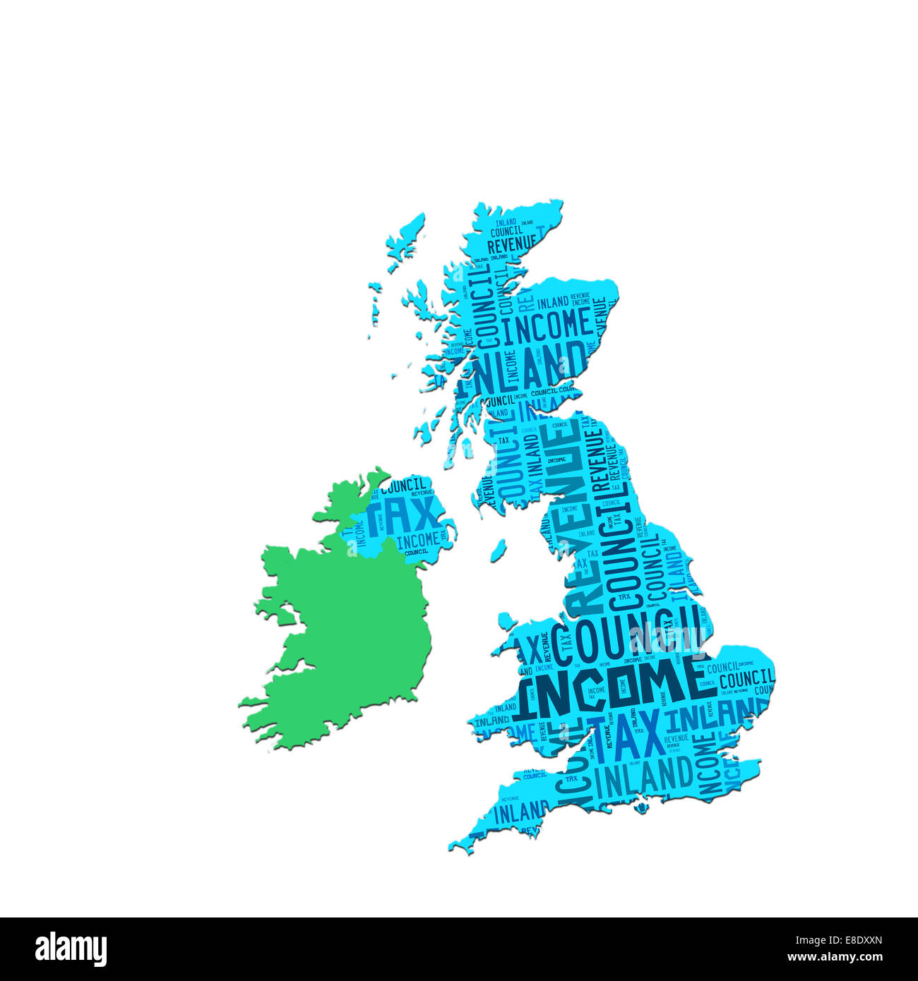 Outline map of UK overlaid with words relating to tax Stock Photo