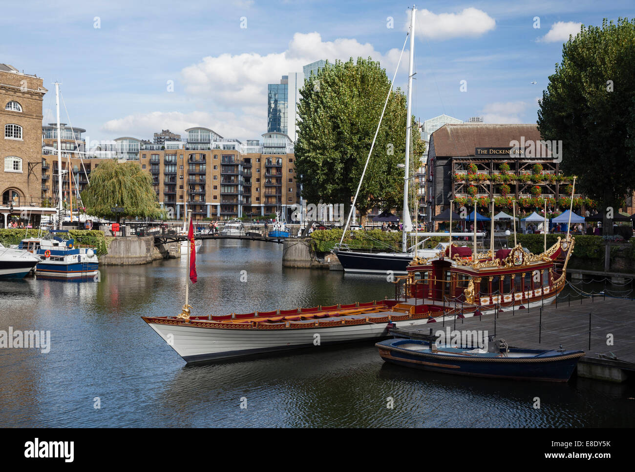 Gloriana, The Queen's Row Barge moored at St. Katharine's Docks, London, England, UK - Stock Image
