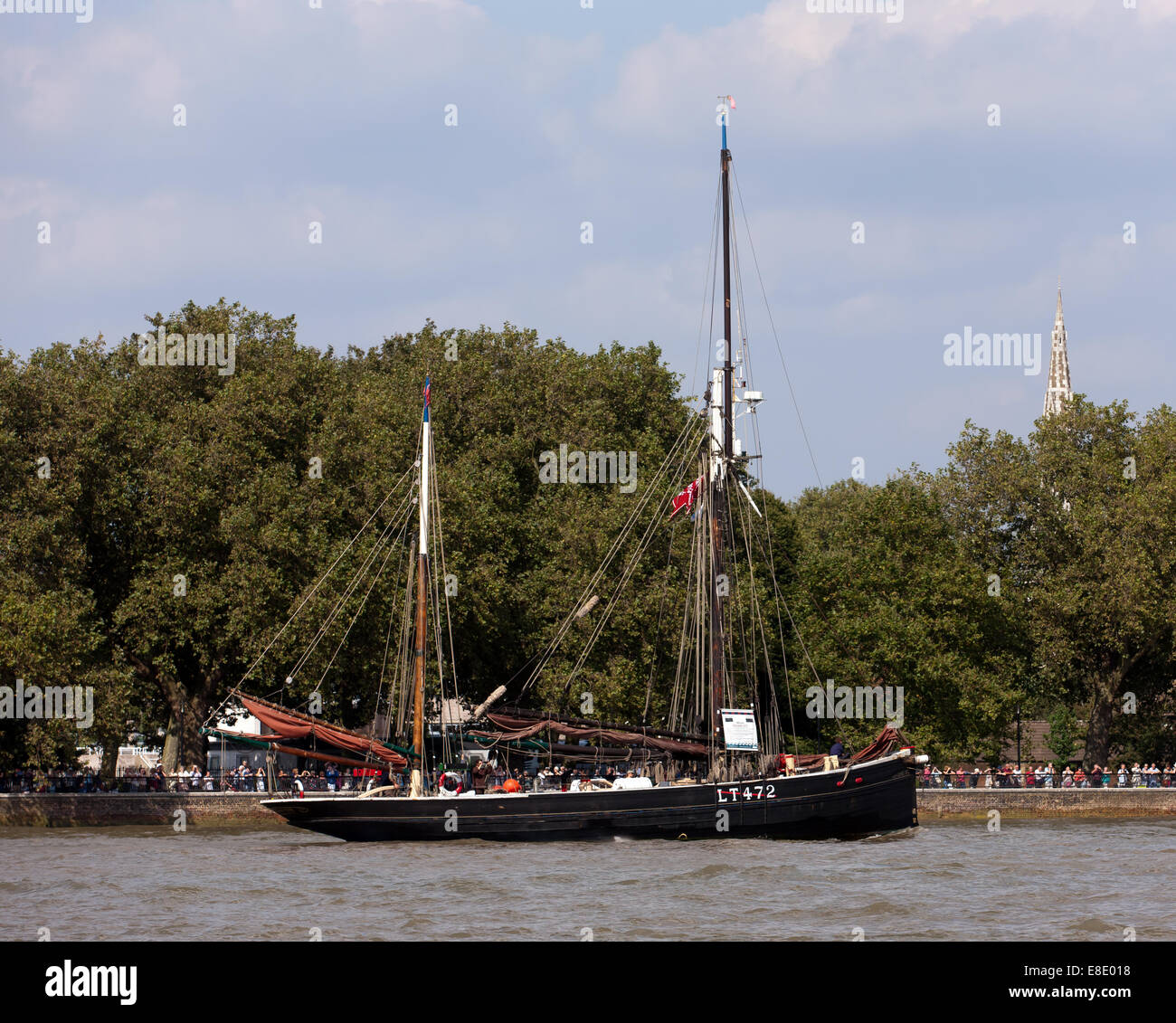 Excelsior,  a 1921, Lowestoft smack, taking part in the parade of sail, during the Tall Ships Festival, Greenwich - Stock Image