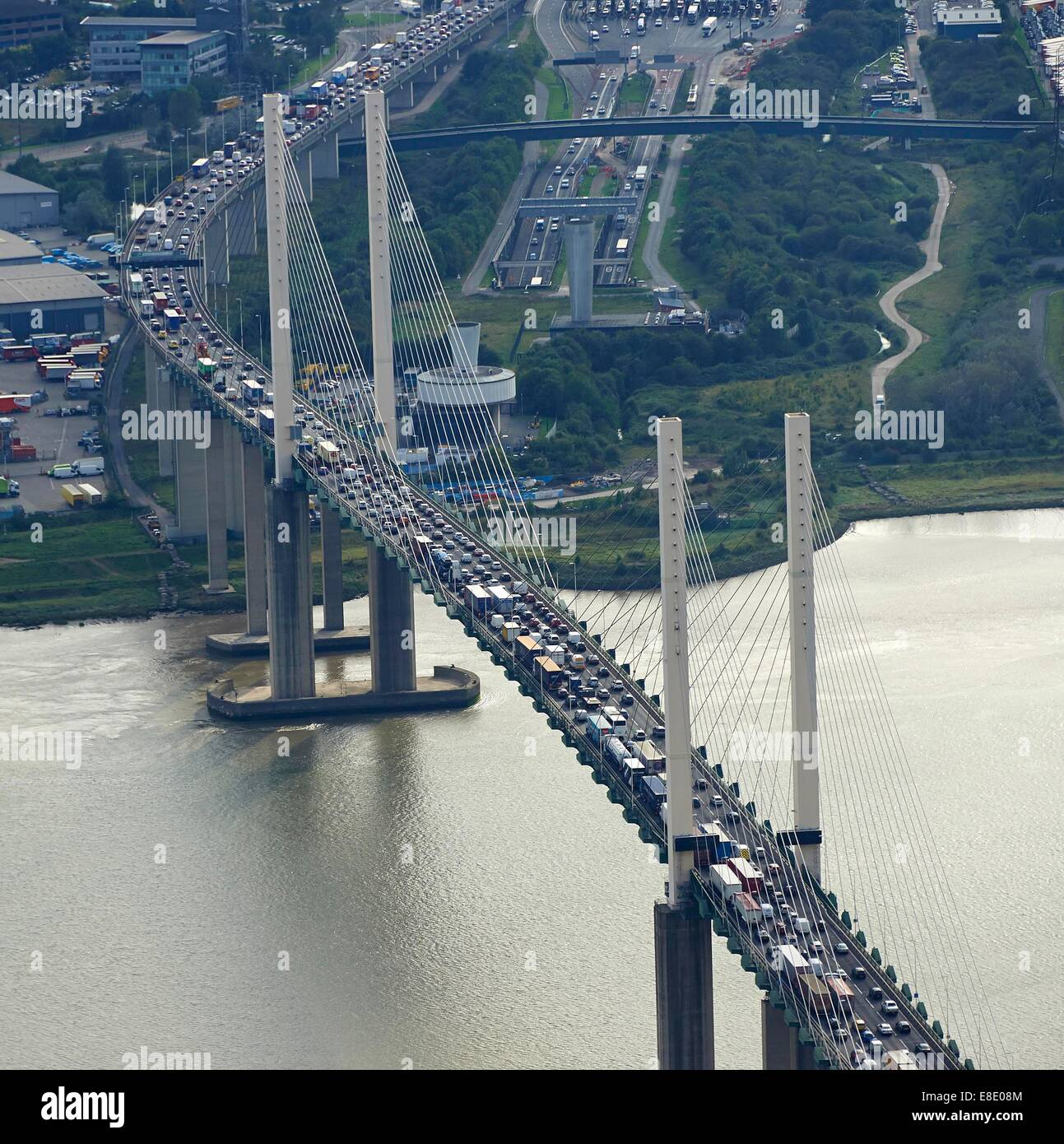 Aerial view of southbound rush hour queue at the Dartford Crossing, M25, SE England UK - Stock Image