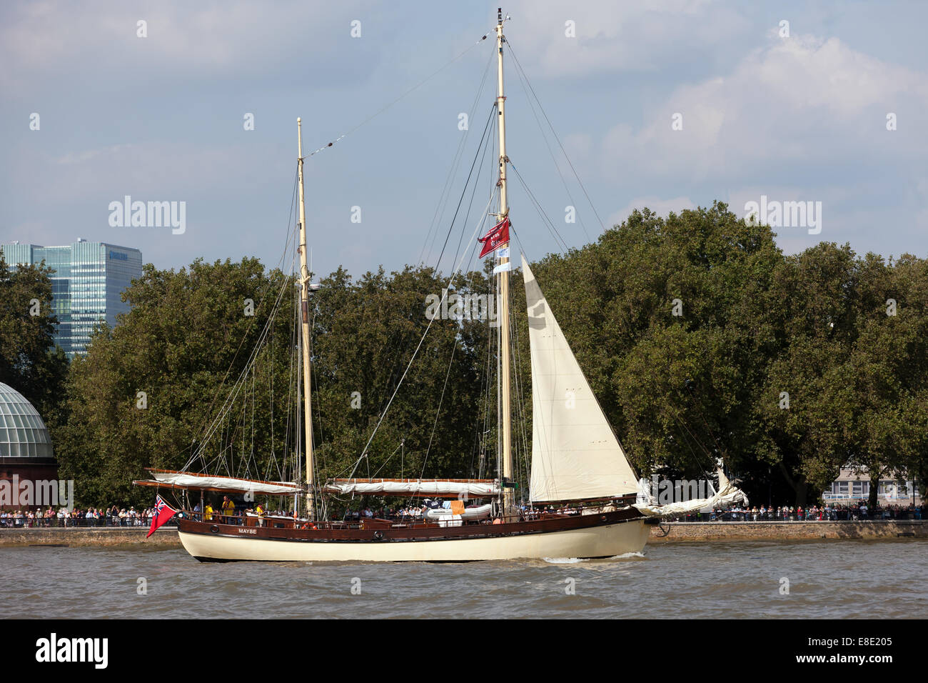 Maybe, a Dutch sailing ketch, taking part in the parade of sail, during the Tall Ships Festival, Greenwich. - Stock Image