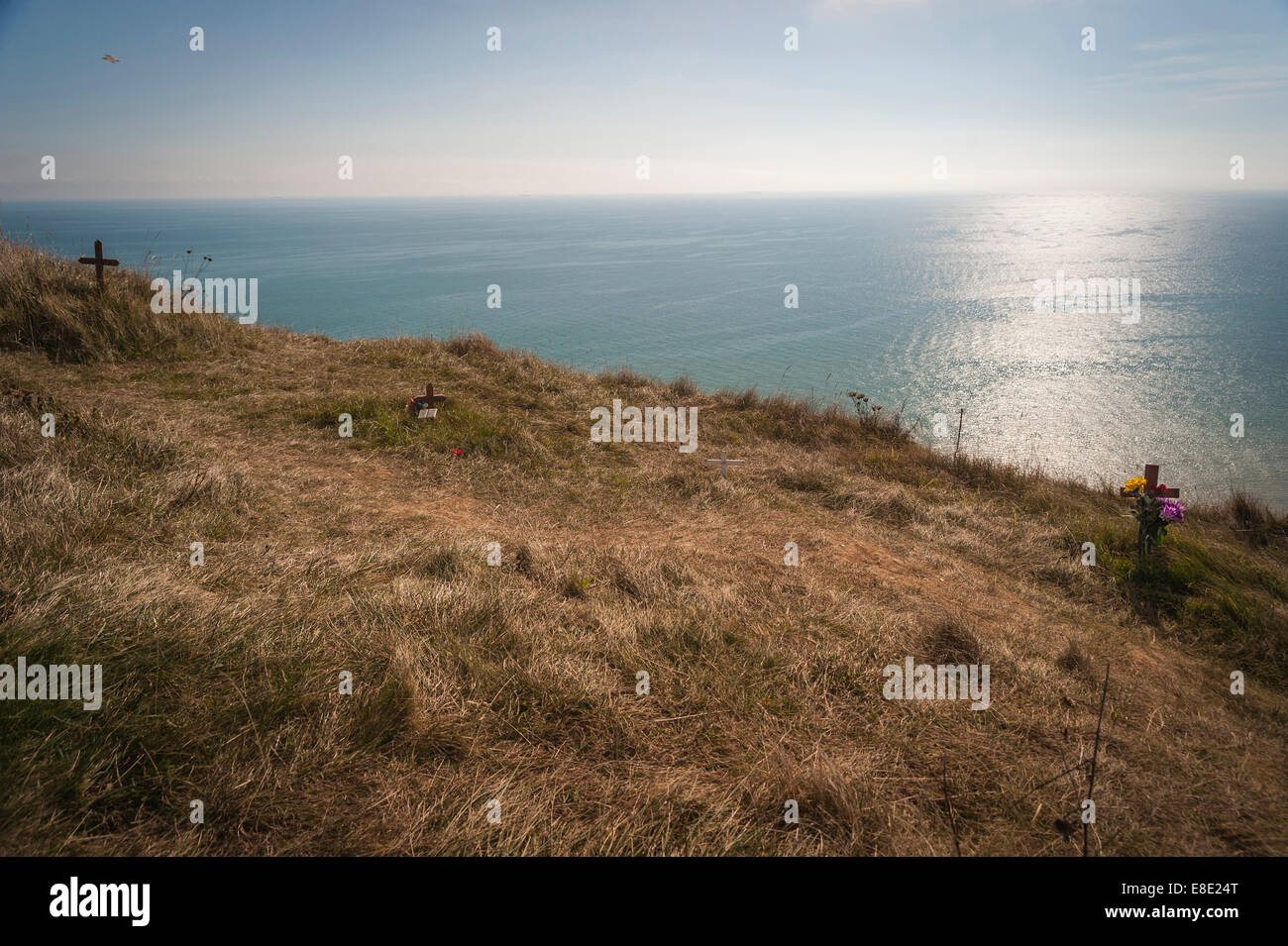 Crosses left as a remembrance of suicides at Beachy Head, East Sussex, UK - Stock Image