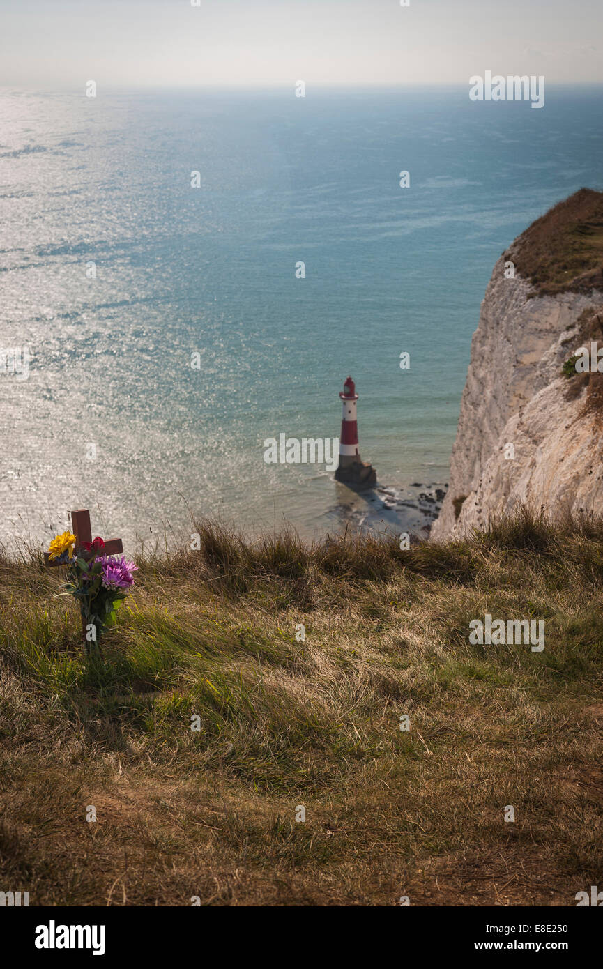 Cross left as a remembrance of a suicide at Beachy Head, East Sussex, UK - Stock Image