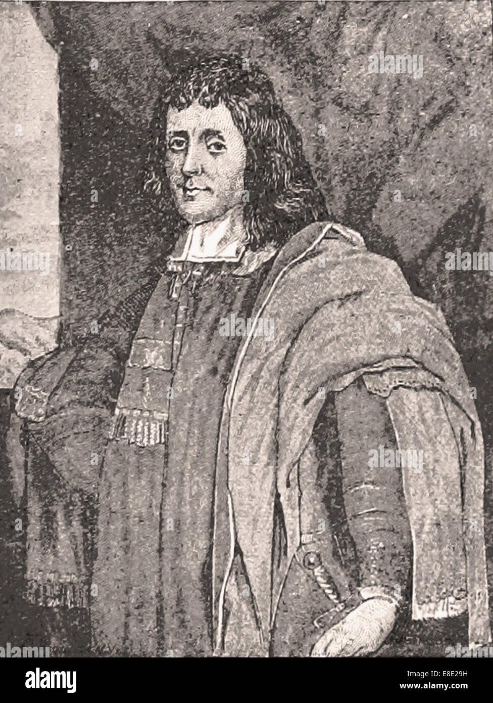 Portrait  of Cecil Calvert, Lord Baltimore - Engraving - XIX th Century - Stock Image