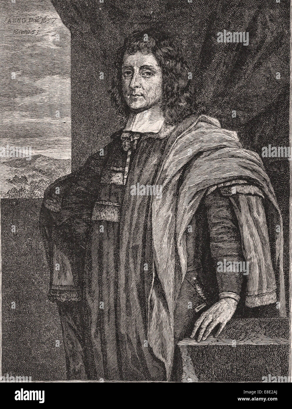 Portrait of Cecil Calvert second Lord Baltimore - Engraving - XIX th Century - Stock Image