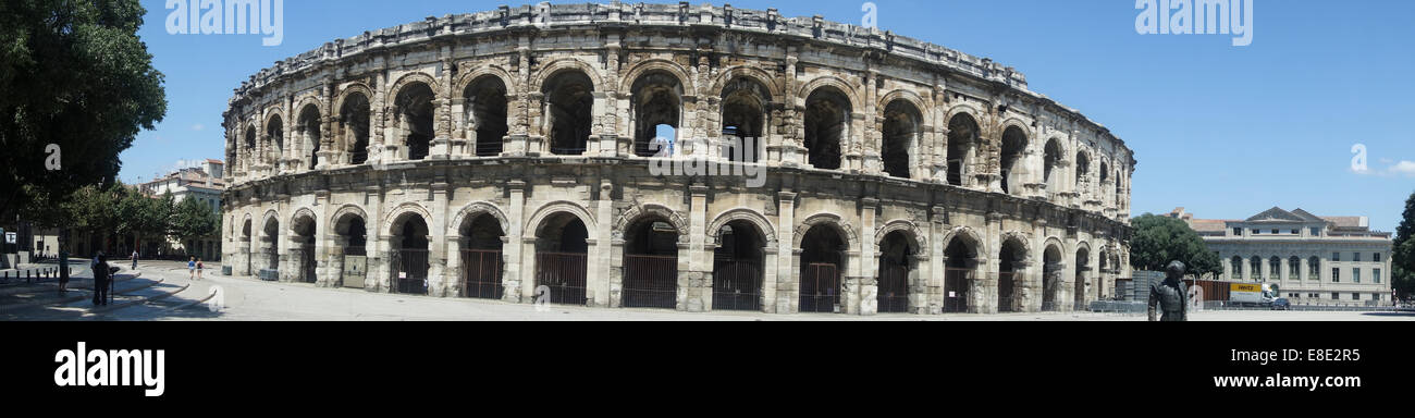 panoramic view of the historic Roman arena in Nimes, Gard Languedoc, France - Stock Image