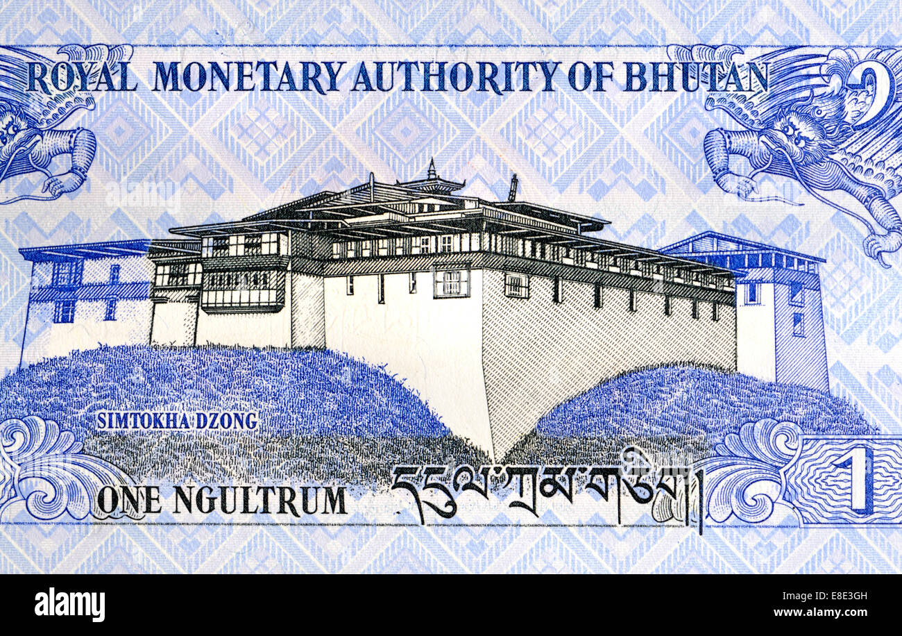 Detail of Bhutan one ngultrum banknote showing Simtokha Dzong - Stock Image