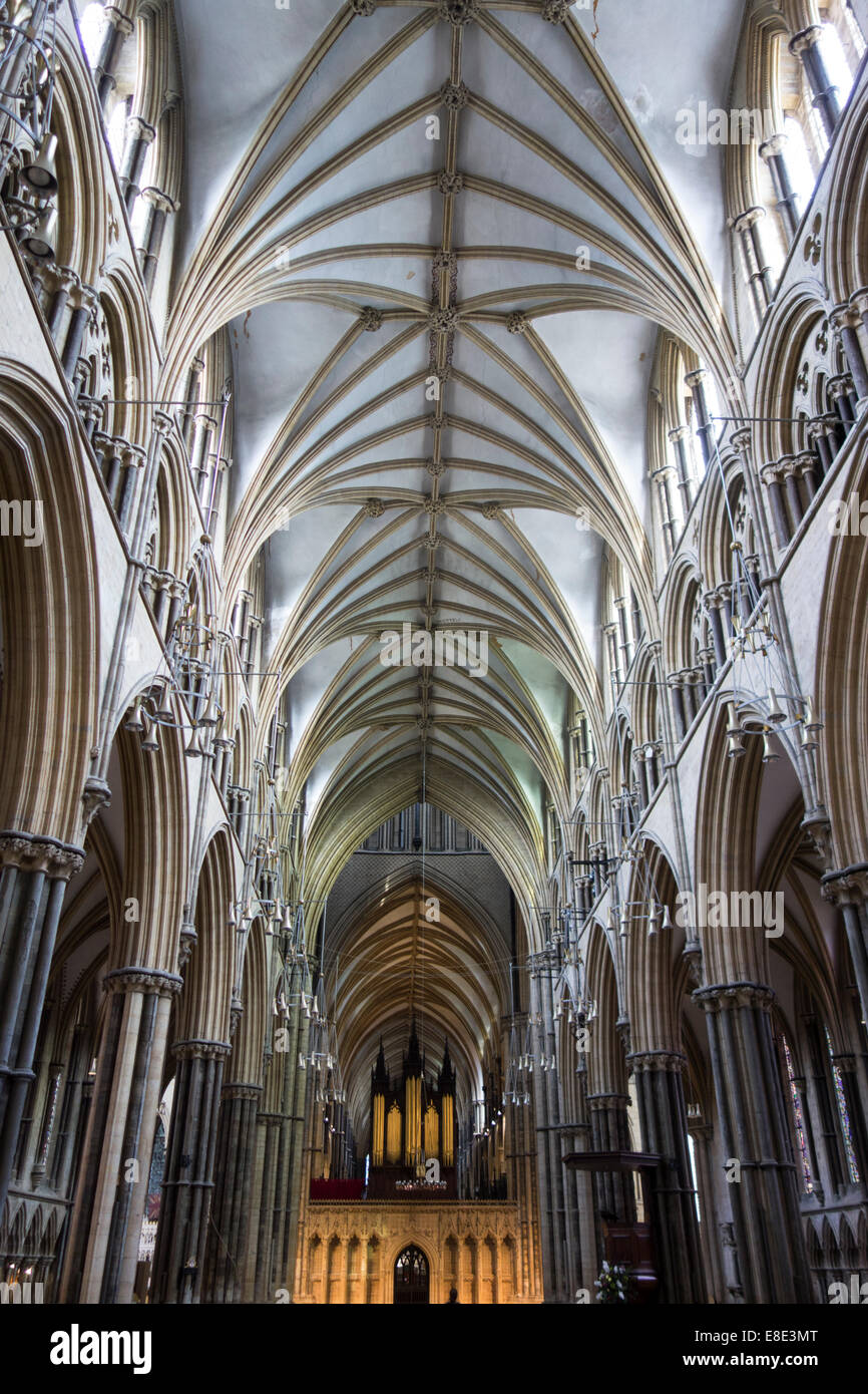 Thirteenth century nave of Lincoln Cathedral early English Gothic style in Lincoln, Lincs, East Midlands United Stock Photo