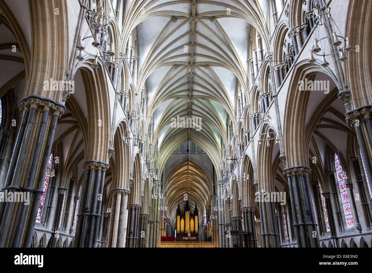 Thirteenth century nave of Lincoln Cathedral early English Gothic style in  Lincoln, Lincs, East Midlands United Kingdom