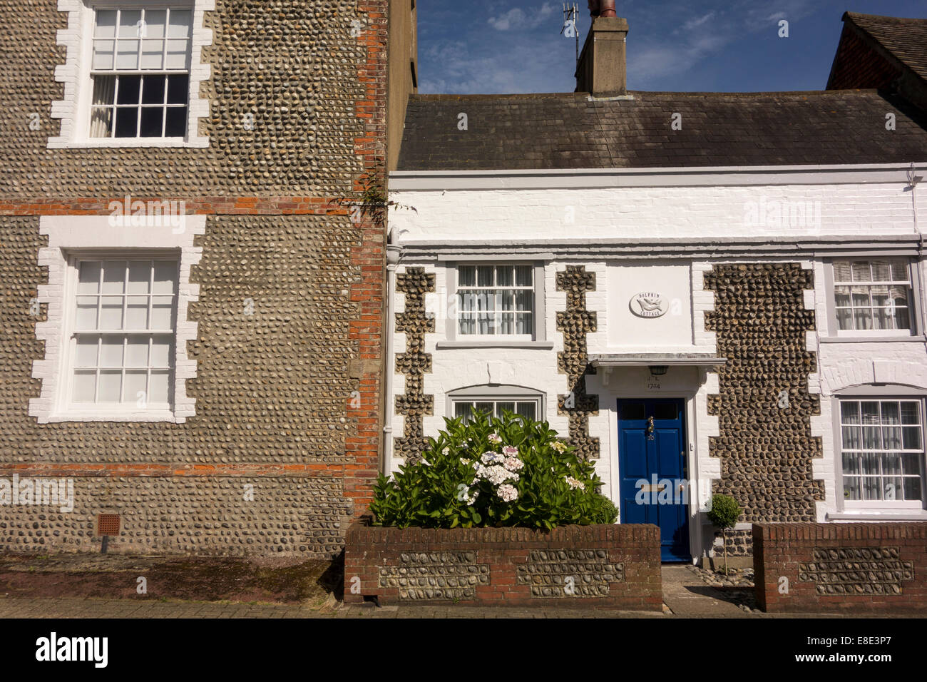 facade of historic flintstone house in Shoreham-by-sea in West Sussex South of England Stock Photo