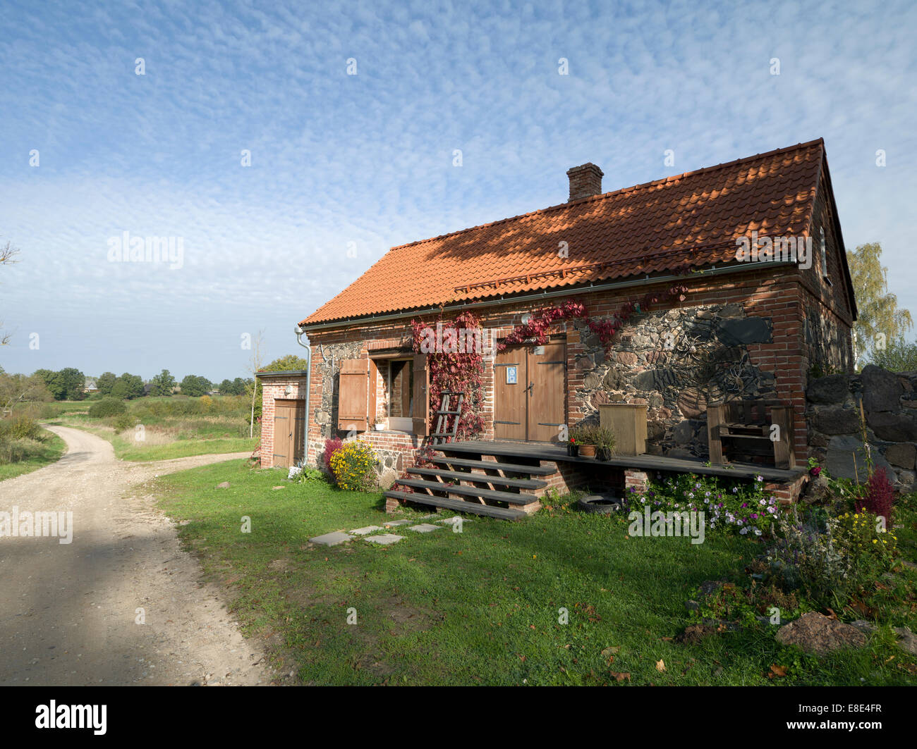 Small Auxiliary Building Of The Mooste Manor Where Is The Handicraft Workshop. Estonia Estland EU - Stock Image