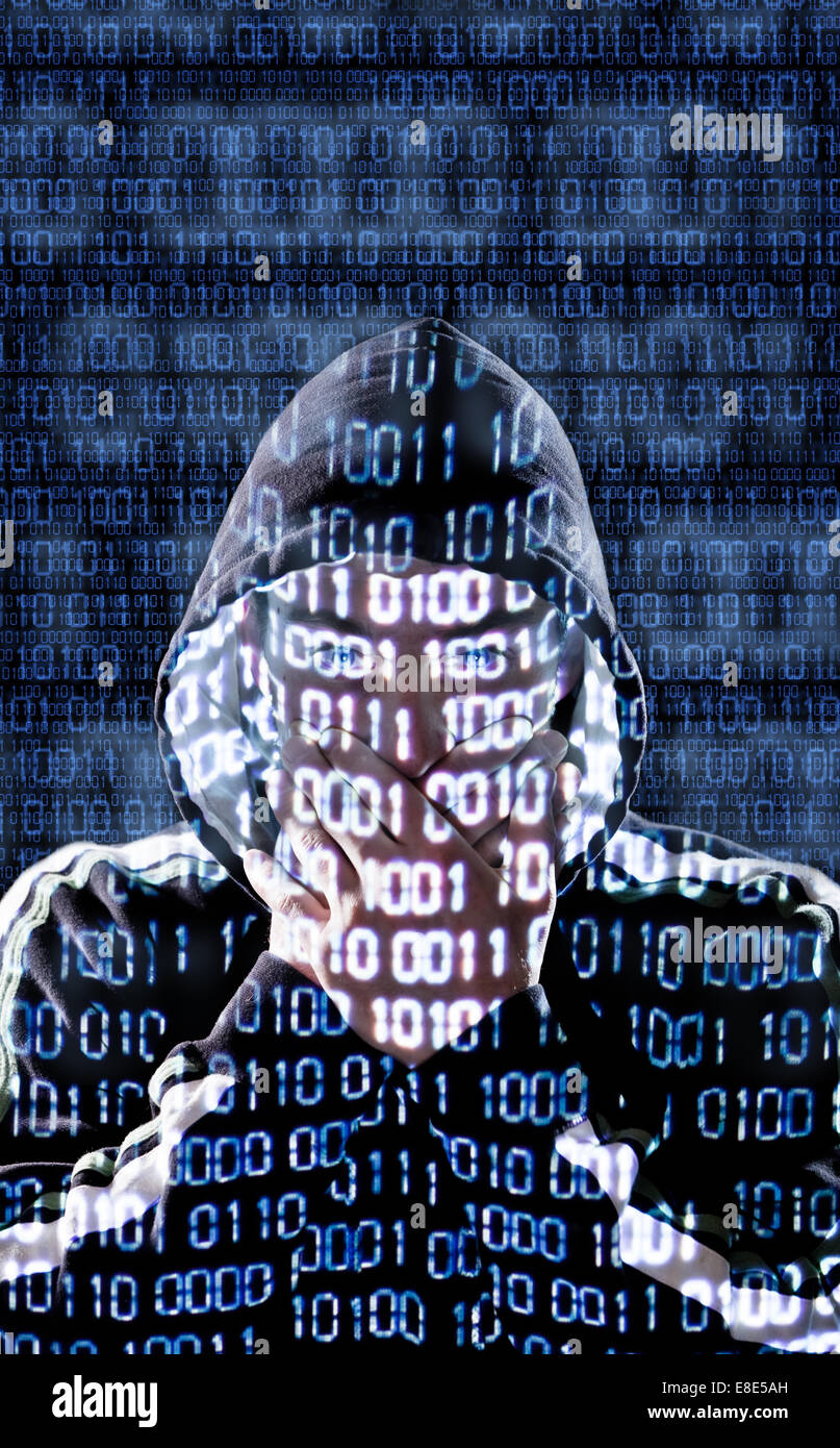 Censored hacker with binary codes in background - Stock Image